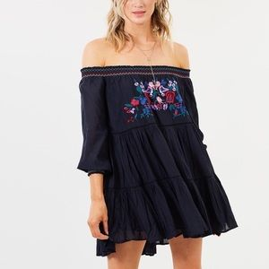 Free People Sun Beams Embroidered off shoulder